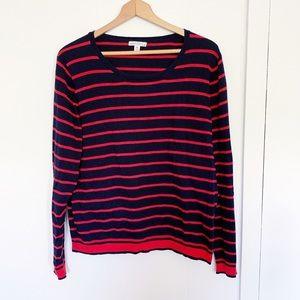 J. Crew peyton mixed stripe sweater red navy XL